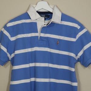 Striped Light Blue Short-Sleeve Polo Shirt